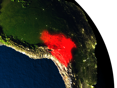 map bolivia: Bolivia highlighted in red on model of planet Earth with very detailed land surface and visible city lights. 3D illustration. Elements of this image furnished by NASA.