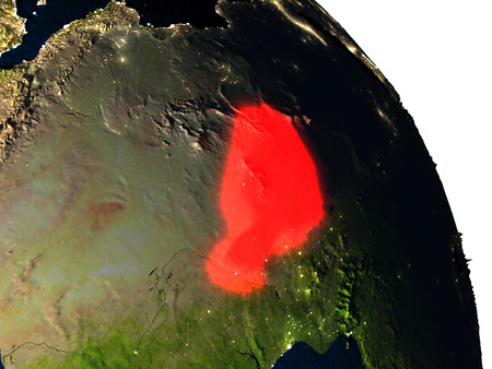 visible: Niger highlighted in red on model of planet Earth with very detailed land surface and visible city lights. 3D illustration. Stock Photo