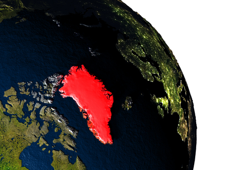 greenlandic: Greenland highlighted in red on model of planet Earth with very detailed land surface and visible city lights. 3D illustration. Stock Photo