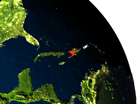Haiti highlighted in red on model of planet Earth with very detailed land surface and visible city lights. 3D illustration.