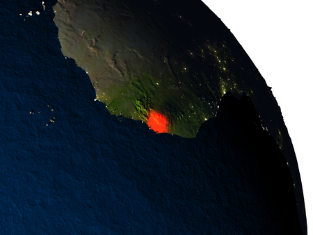Sierra Leone highlighted in red on model of planet Earth with very detailed land surface and visible city lights. 3D illustration. Stock Photo
