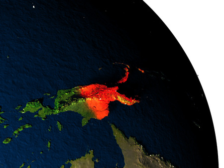 Papua New Guinea highlighted in red on model of planet Earth with very detailed land surface and visible city lights. 3D illustration.
