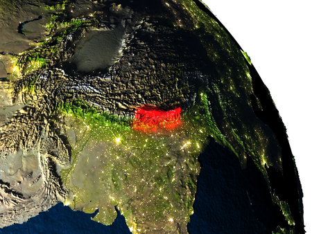 nepali: Nepal highlighted in red on model of planet Earth with very detailed land surface and visible city lights. 3D illustration.
