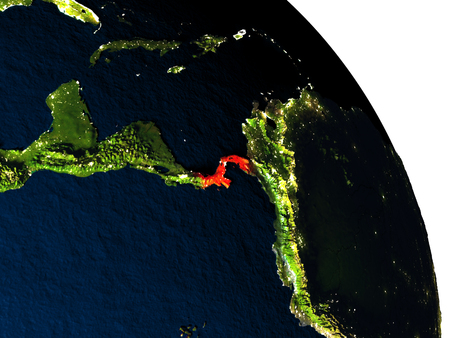 visible: Panama highlighted in red on model of planet Earth with very detailed land surface and visible city lights. 3D illustration. Stock Photo