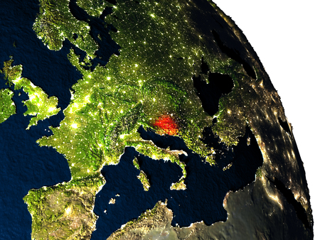 Bosnia highlighted in red on model of planet Earth with very detailed land surface and visible city lights. 3D illustration. Stock Photo