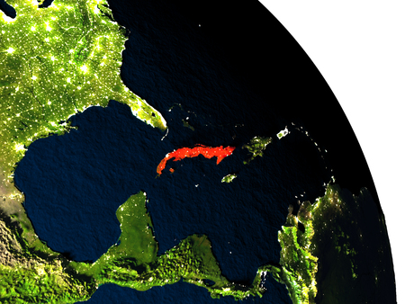 visible: Cuba highlighted in red on model of planet Earth with very detailed land surface and visible city lights. 3D illustration.