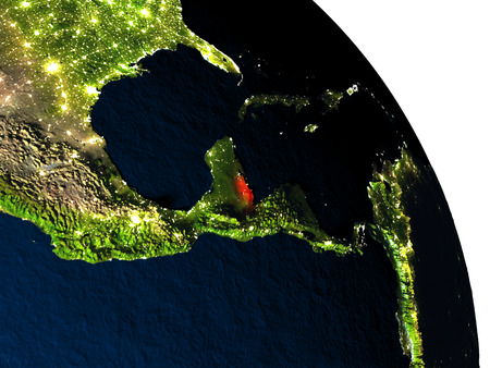 Belize highlighted in red on model of planet Earth with very detailed land surface and visible city lights. 3D illustration. Stock Photo