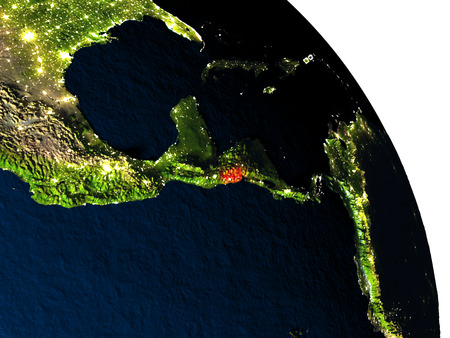 mapa de el salvador: El Salvador highlighted in red on model of planet Earth with very detailed land surface and visible city lights. 3D illustration. Foto de archivo