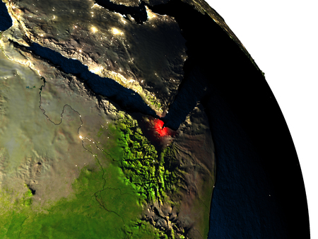 Djibouti highlighted in red on model of planet Earth with very detailed land surface and visible city lights. 3D illustration. Elements of this image furnished by NASA. Stock Photo