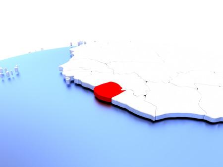 Sierra Leone in red color on simple elegant political globe. 3D illustration Stock Photo