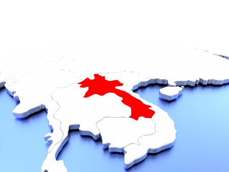 Laos in red color on simple elegant political globe. 3D illustration