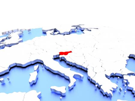Slovenia in red color on simple elegant political globe. 3D illustration Stock Photo