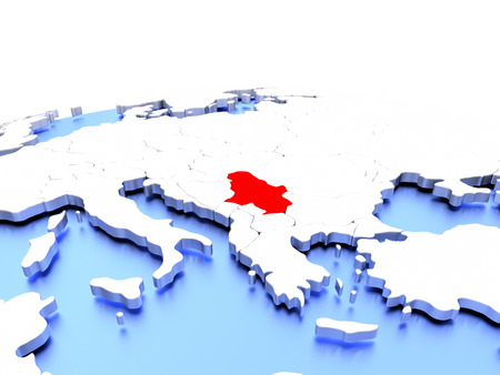 Serbia in red color on simple elegant political globe. 3D illustration