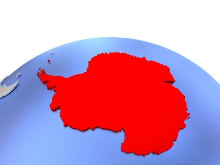 antarctic: Antarctica in red color on simple elegant political globe. 3D illustration
