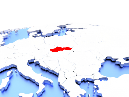 Slovakia in red color on simple elegant political globe. 3D illustration