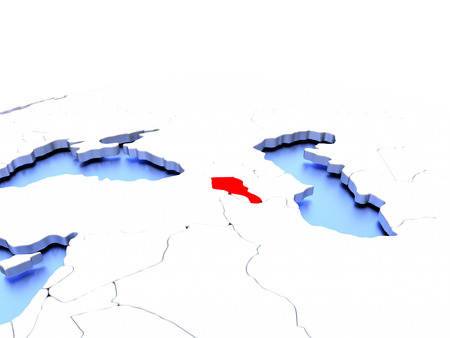 armenian: Armenia in red color on simple elegant political globe. 3D illustration Stock Photo