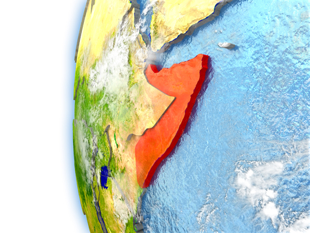 Somalia highlighted in red on planet Earth with visible waves in the oceans and clouds in the atmosphere. 3D illustration with detailed planet surface.
