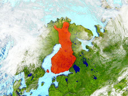 Finland in red on map with detailed landmass texture, realistic watery oceans and clouds above the surface. 3D illustration.
