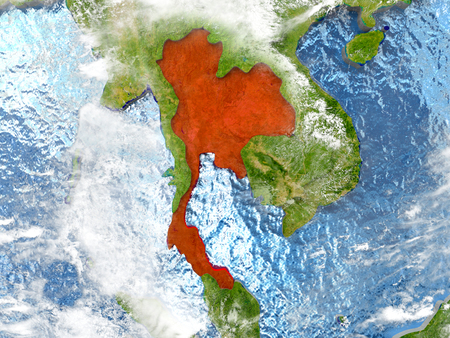 Thailand in red on map with detailed landmass texture, realistic watery oceans and clouds above the surface. 3D illustration. Stock Photo