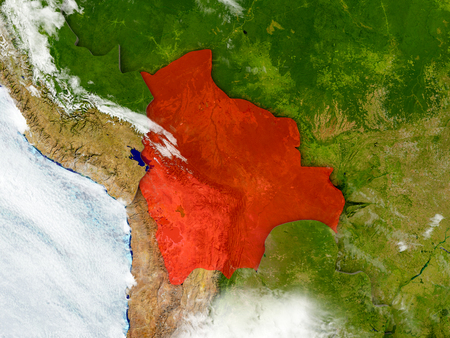 Bolivia in red on map with detailed landmass texture, realistic watery oceans and clouds above the surface. 3D illustration.