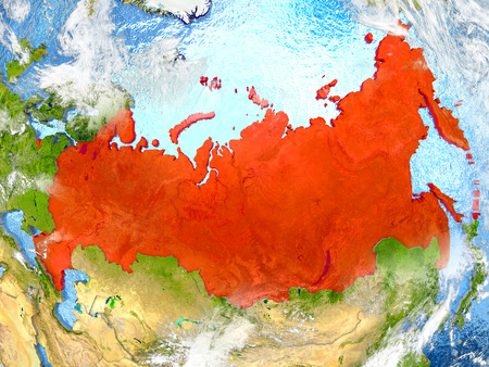 Russia in red on map with detailed landmass texture, realistic watery oceans and clouds above the surface. 3D illustration. Stock Photo
