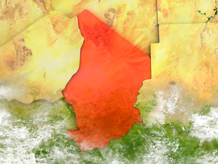 chadian: Chad in red on map with detailed landmass texture, realistic watery oceans and clouds above the surface. 3D illustration. Stock Photo