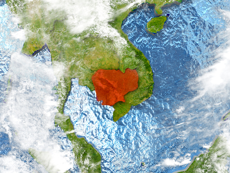 Cambodia in red on map with detailed landmass texture, realistic watery oceans and clouds above the surface. 3D illustration.