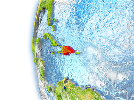 Dominican Republic highlighted in red on planet Earth with visible waves in the oceans and clouds in the atmosphere. 3D illustration with detailed planet surface.