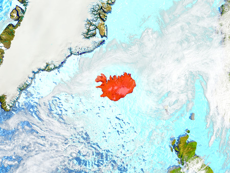 Iceland in red on map with detailed landmass texture, realistic watery oceans and clouds above the surface. 3D illustration. Stock Photo