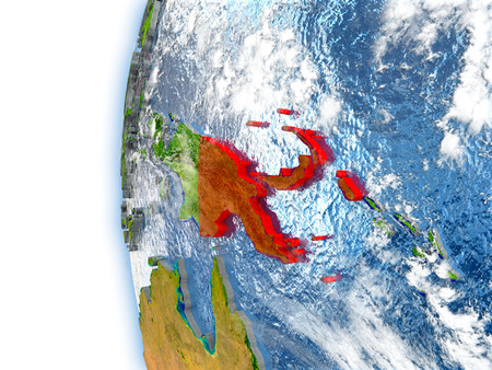 Papua New Guinea highlighted in red on planet Earth with visible waves in the oceans and clouds in the atmosphere. 3D illustration with detailed planet surface.