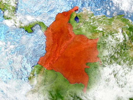 Colombia in red on map with detailed landmass texture, realistic watery oceans and clouds above the surface. 3D illustration.