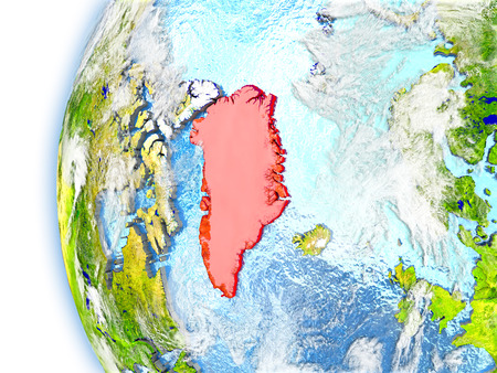 Greenland highlighted in red on planet Earth with visible waves in the oceans and clouds in the atmosphere. 3D illustration with detailed planet surface.