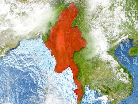 burmese: Myanmar in red on map with detailed landmass texture, realistic watery oceans and clouds above the surface. 3D illustration.