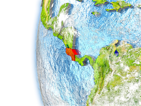 Costa Rica highlighted in red on planet Earth with visible waves in the oceans and clouds in the atmosphere. 3D illustration with detailed planet surface.