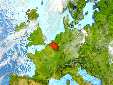 Belgium in red on map with detailed landmass texture, realistic watery oceans and clouds above the surface. 3D illustration.