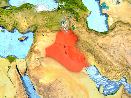 Iraq in red on map with detailed landmass texture, realistic watery oceans and clouds above the surface. 3D illustration. Stock Photo