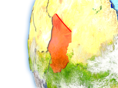 Chad highlighted in red on planet Earth with visible waves in the oceans and clouds in the atmosphere. 3D illustration with detailed planet surface.