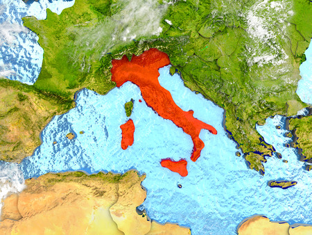 Italy in red on map with detailed landmass texture, realistic watery oceans and clouds above the surface. 3D illustration. Stock Photo