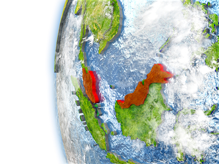 visible: Malaysia highlighted in red on planet Earth with visible waves in the oceans and clouds in the atmosphere. 3D illustration with detailed planet surface.