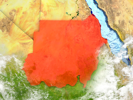 Sudan in red on map with detailed landmass texture, realistic watery oceans and clouds above the surface. 3D illustration.