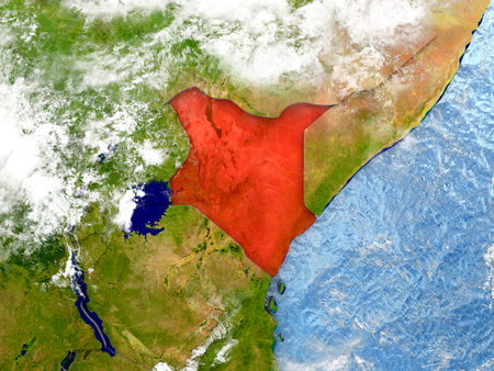Kenya in red on map with detailed landmass texture, realistic watery oceans and clouds above the surface. 3D illustration.