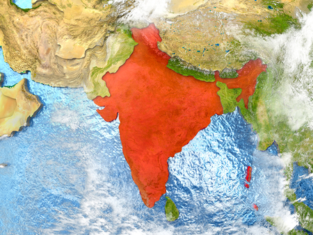 India in red on map with detailed landmass texture, realistic watery oceans and clouds above the surface. 3D illustration.