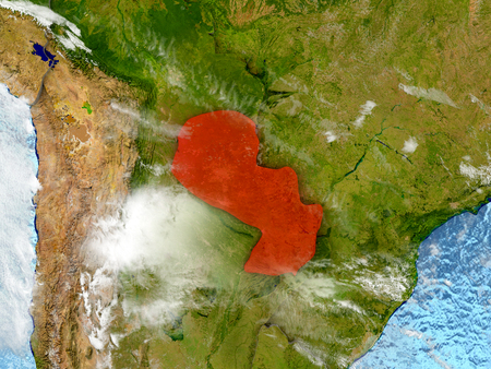 Paraguay in red on map with detailed landmass texture, realistic watery oceans and clouds above the surface. 3D illustration.