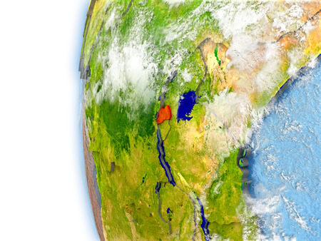 Rwanda highlighted in red on planet Earth with visible waves in the oceans and clouds in the atmosphere. 3D illustration with detailed planet surface.