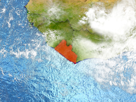 Liberia in red on map with detailed landmass texture, realistic watery oceans and clouds above the surface. 3D illustration.