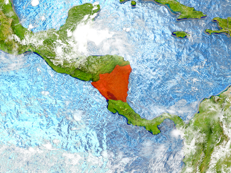 Nicaragua in red on map with detailed landmass texture, realistic watery oceans and clouds above the surface. 3D illustration. Stock Photo