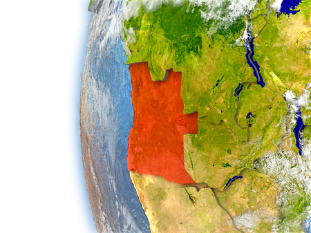 Angola highlighted in red on planet Earth with visible waves in the oceans and clouds in the atmosphere. 3D illustration with detailed planet surface. Stock Photo