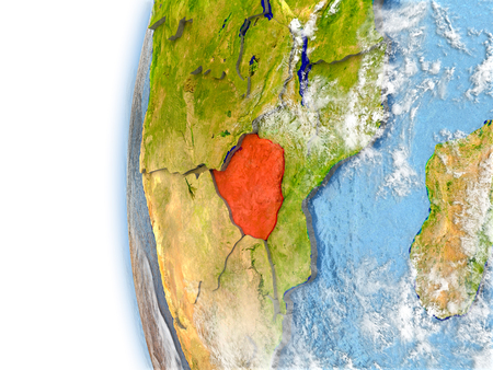 Zimbabwe highlighted in red on planet Earth with visible waves in the oceans and clouds in the atmosphere. 3D illustration with detailed planet surface.