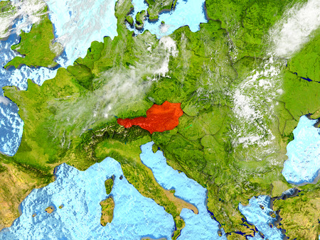 Austria in red on map with detailed landmass texture, realistic watery oceans and clouds above the surface. 3D illustration. Stock Photo
