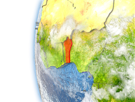 Benin highlighted in red on planet Earth with visible waves in the oceans and clouds in the atmosphere. 3D illustration with detailed planet surface. Stock Photo